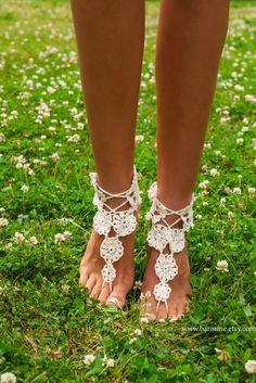 Women's crochet barefoot sandals Barefoot sandal Bridal