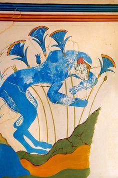 Arthur Evans reconstruction of the Blue Monkey Knossos Minoan archaeological site, Crete Greek History, Ancient History, Art History, Ancient Greek Art, Ancient Greece, Knossos Palace, Minoan Art, Bronze Age Civilization, Mycenaean