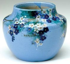 Image detail for -Daisy Merton squat vase with hand painted floral decoration,…