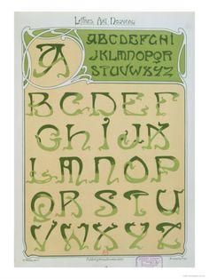 Art Nouveau Alphabet. 1903 Giclee Print by E. Mulier at Art.com