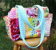 DIY Inspiration Awesome Diaper Bags. I love the bright fabrics! ;) Mo