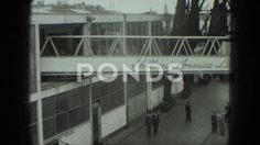 1949: Passenger Walkway Transported Ocean Liner Shipping Yard Travelers Venice-Stock Footage | by StockFilm