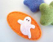 NO SLIP Wool felt hair clip -Halloween ghost -peach