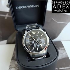 Emporio Armani Mens Watches, Breitling, Watches For Men, Accessories, Black, Top Mens Watches, Black People, Men's Watches, Men Watches