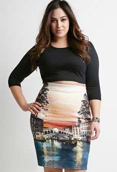 Plus Size Graphic Pencil Skirt
