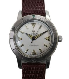 "Vintage 60s Zodiac ""SeaWolf"" Automatic Divers Watch with white dial"