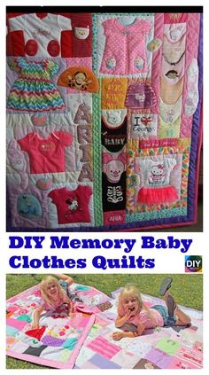 There are so many precious memories associated with our children's baby clothes. What better way to keep it than with this DIY Memory Baby Clothes Quilts idea ? Diy Baby Clothes Memory Quilt, Baby Memory Quilt, Baby Clothes Blanket, Baby Girl Crochet Blanket, Baby Quilts, Memory Quilts, Baby Blankets, Baby Bottle Storage, Keepsake Quilting