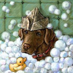 Chocolate Labrador Retriever Artwork Bathtub