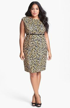 Calvin Klein Print Ponte Knit Sheath Dress (Plus Size) | Nordstrom
