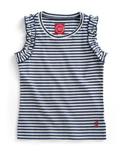 Joules JNR FRILLS Girls Summer Vest, Navstrp. If the sun's out, arms should be too! A fantastically frilling top that will grow into a firm favourite has the temperature rises.