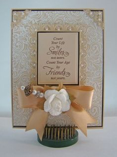 Card designed by Angela Barkhouse using Botanical Medallions and Banners with Elegant Fronds Background stamp.