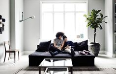 Yvonne Koné and her son at home in Copenhagen