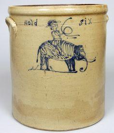 """Six gallon stoneware crock of Midwestern origin, probably Ohio, circa 1875, H 13 5/8"""""""