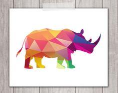 Rhino Art Print - 8x10 Geometric Art, Geometric Print, Rhinoceros, Printable Art, Animal Silhouette, Home Decor, INSTANT DOWNLOAD