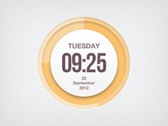 Graphically Designed Clocks. Orange & White. Time. Date. Minimal. Beautiful.