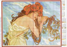 0 point de croix art nouveau lady in yellow - cross stitch art nouveau femme en robe jaune