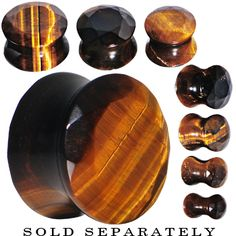 00 Gauge Tiger Eye Semi Precious Stone Faceted Double Flare Plug | Body Candy Body Jewelry