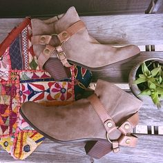 """Sam Edelman Suede and Leather Booties These booties are Hot, Hot, Hot!  Suede upper with leather harness. 3"""" heel and side zipper for ease. The perfect festival boot!  *boot doesn't come in original box, was purchased this way at LF stores. Sam Edelman Shoes Ankle Boots & Booties"""