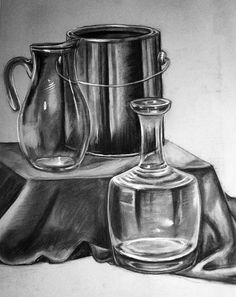 Still life drawing ; dessin de nature mort… - Everything About Charcoal Drawing and Sculpture Pencil Drawings Of Flowers, Pencil Art Drawings, Realistic Drawings, Art Sketches, Charcoal Drawings, Still Life Sketch, Still Life Drawing, Still Life Pencil Shading, Charcoal Artists