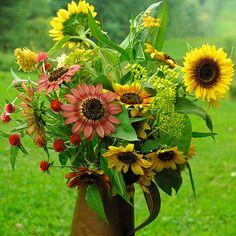 Plants for a fall cutting garden, from Fine Gardening Sunflower Arrangements, Beautiful Flower Arrangements, Floral Arrangements, Sunflower Bouquets, Fine Gardening, Container Gardening, Fresh Flowers, Beautiful Flowers, Fall Flowers