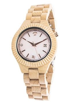 Wooden Wrist Watch for Women - Natural Maple and Mother of Pearl / Sapphire Crystal Dial Window / Wood Watch Band / Analog Citizen Movement - Includes Logo Stamped Box