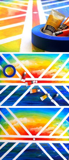 Use masking tape and acrylic paint to create modern art!