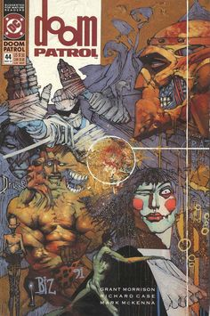 Preliminary drawing and final painted version of the cover of Doom Patrol #44 by Simon Bisley, published by DC Comics Vertigo, May 1991.