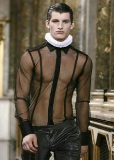 Fashion, outrageous, Men's sheer shirt by lexus, mens fashion Moda Fashion, High Fashion, Sheer Shirt, Fashion Gallery, Sexy Men, Fashion Design, Fashion Trends, Style Inspiration, Stylish