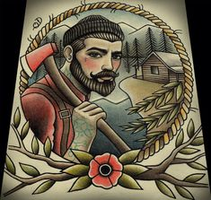 Lumberjack Tattoo Art Print 11x13 by ParlorTattooPrints on Etsy, $26.00