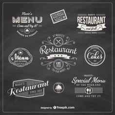 restaurante retro insignias Vector Gratis