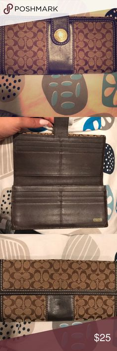 Brown Signature Coach Wallet Authentic Coach. Brown Wallet in good condition. Coach Bags Wallets