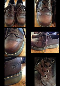 This is a n awesome pair of lightly worn preowned Dr. Martens oxford style shoes. They are a dark brown leather and only show wear in the form of very light scuffing. They are a men's size 9 (EU 42). Awesome! #DrMartens