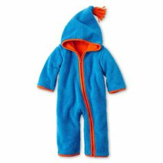 giggleBABY™ Sherpa Fleece Hooded Coveralls - Boys newborn-24m