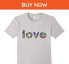"Mens ""LOVE"" Word Colorful Retro Peace Sign Letters T-Shirt Small Silver - Retro shirts (*Amazon Partner-Link)"