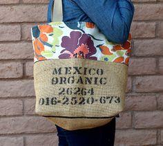 MEXICAN ORGANIC Coffee Bean Bag Burlap Tote by ChellaBellaDesigns, $35.00