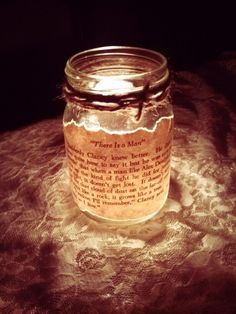 Antique Book Page Mason Jar Candle HolderWedding. This is cute if it gets late