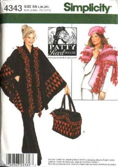 Simplicity Sewing Pattern 4343 Misses Size L-XXL18-26 Poncho Shawl Bag Hat Patty Reed Design