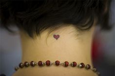 Small Cute Red and Black Outline Heart Tattoo