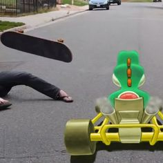 Artist Creates Real-Life 'Mario Kart' With 3D Chalk Drawings