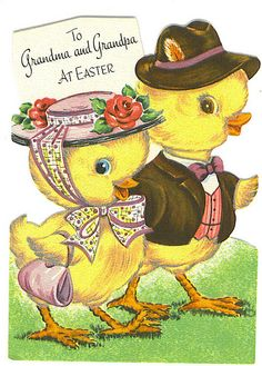 Easter cute ducky card, I remember these cards. My grandma had them in a drawer from when she was young.
