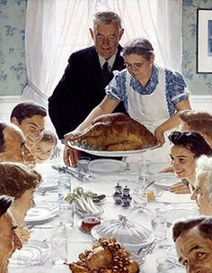 Tips for Thanksgiving Serenity Painting by Norman Rockwell. First seen in the March 1943 Issue of The Saturday Evening Post: The Four Freedoms Series Read more: www.best-norman-r. by Norman Rockwell Peintures Norman Rockwell, Norman Rockwell Art, Norman Rockwell Paintings, Thanksgiving Pictures, Vintage Thanksgiving, Happy Thanksgiving, Thanksgiving Recipes, Thanksgiving Turkey, Thanksgiving Blessings