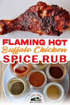 This recipe for Flaming Hot Buffalo Chicken Spice Rub is sure to please even the spiciest person you know and love. We all have one, don't we? No matter what you make, they want to add just a little heat to it. So why not just start them off with the heat in this spicy chicken rub and all they'll be looking for is a glass of water. And maybe a break from the heat. Or a creamy cool dip to quench the spice. | @LttlHouseBigAK #bestspicychickenrecipe #howtomakebuffalochickenspicerub