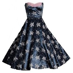 1950's Vintage Baby-Pink & Charcoal-Gray Embroidered Floral Taffeta Dress