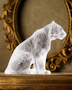 "Lalique Crystal Sitting Tiger - Exquisite crystal tiger is made in France by Lalique. 4.3""T x 5.25""L."