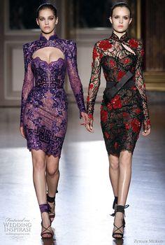 zuhair murad couture short dresses flores rojas pequeñas, fondo beige