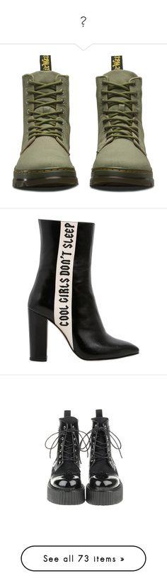 """""""鞋"""" by saddestprincess ❤ liked on Polyvore featuring shoes, boots, mid khaki, hiking boots, military-style boots, dr martens shoes, military hiking boots, foldable boots, black and side zipper boots"""