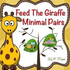 Children love feeding animals so why not have them practice auditory discrimination of minimal pairs and/or reduction of phonological processes while doing it! Minimal Pair, Phonological Processes, Apraxia, Child Love, Speech Therapy, Giraffe, Minimalism, Preschool, Pairs