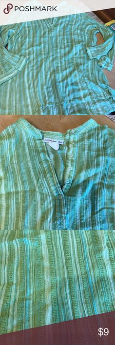 Green Sag Harbor relaxed shirt beach ready sz XL No issues.  From a pet free smoke free home. Selling a ton of  clothes like this. Make a bundle and then an offer! Tops Tunics
