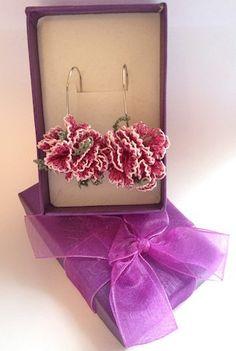 Pink Caryophyllus Turkish Needle Lace Earrings on Etsy