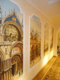 Le finestre su Venezia in questo affresco splendido realizzato su misura per un cliente da Mariani Affreschi- a fresco of Venice by Mariani Affreschi